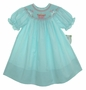 """<img src=""""https://p11.secure.hostingprod.com/@grammies-attic.com/ssl/images/blue-sold-1.gif""""> NEW Rosalina Teal Smocked Bishop Dress with Birthday Embroidery"""