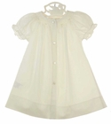 NEW Rosalina Vintage Style Ivory Bishop Smocked Daygown with Tiny Pink Embroidered Flowers