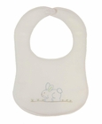 NEW Rosalina Vintage Style Off White Birdseye Cotton Bib with Embroidered Blue Bunny
