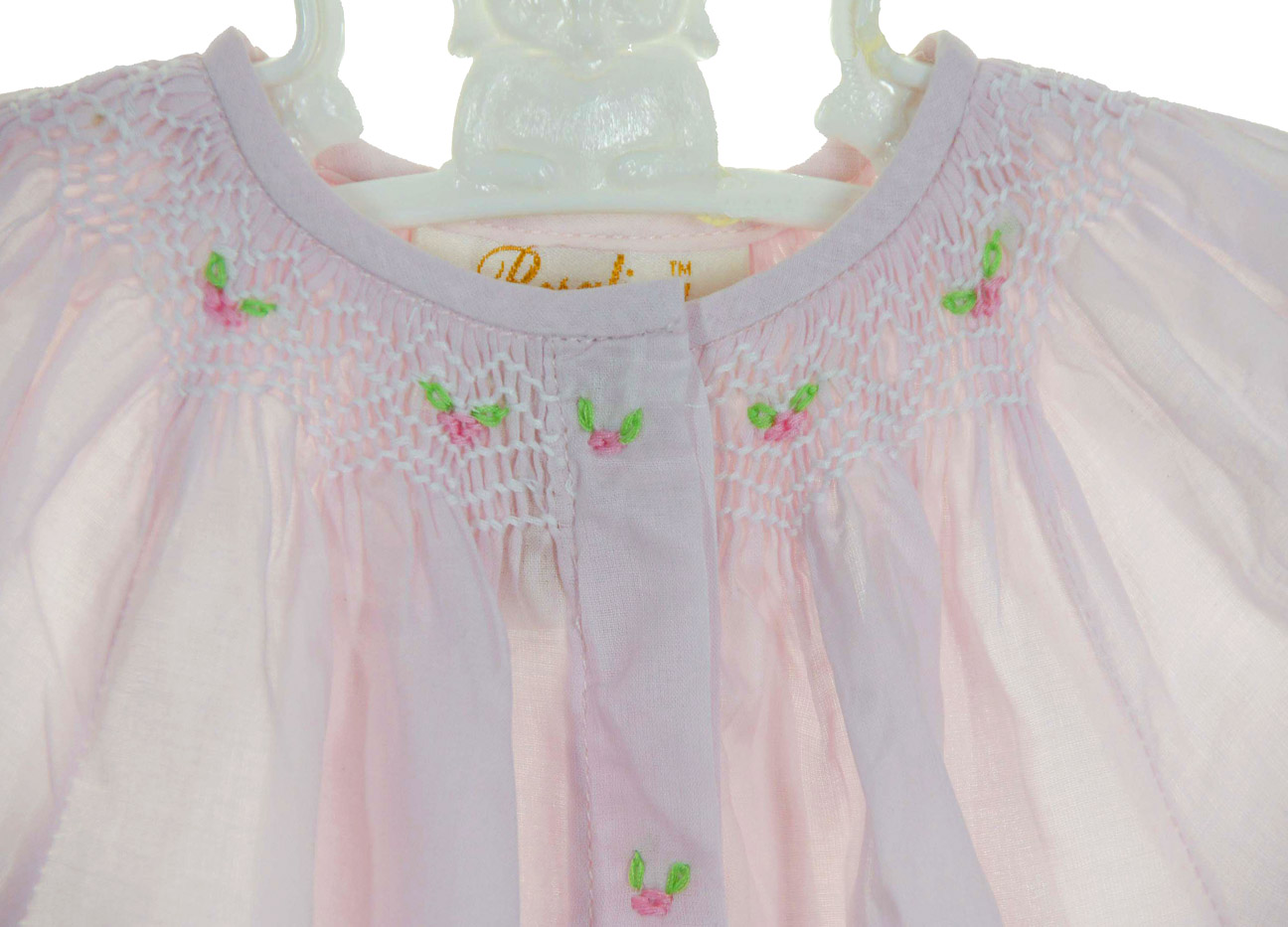 8b5e2f4aadd90 Rosalina pink cotton bishop smocked gown and bonnet set,pink cotton ...