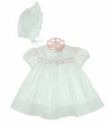 NEW Rosalina Vintage Style White Smocked Dress and Bonnet with Pink Rosebuds