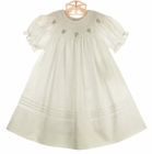 NEW Rosalina Antique White Sheer Cotton Organdy Bishop Smocked Toddler Dress with Pink Embroidered Rosebuds