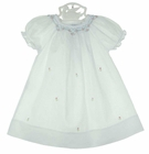 NEW Rosalina White Bishop Smocked Daygown with Pink and Blue Embroidery