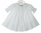 NEW Rosalina White Bishop Smocked Daygown with White Embroidered Rosebuds
