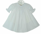 NEW Rosalina White Bishop Smocked Dress with Embroidered White Rosebuds