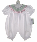 """<img src=""""https://p11.secure.hostingprod.com/@grammies-attic.com/ssl/images/blue-sold-1.gif""""> NEW Rosalina White Bubble with Red and Green Smocking"""
