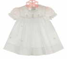 NEW Rosalina White Pintucked Cotton Baby Dress with Pink Smocking and Embroidery