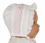 NEW Rosalina White Ruffled Bonnet with Pink Smocking