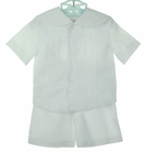 NEW Rosalina White Linen Shorts Set with Sailor Collar and Embroidered Detail