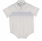 NEW Rosalina White Smocked Romper with Blue Embroidery