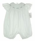 "<img src=""https://p11.secure.hostingprod.com/@grammies-attic.com/ssl/images/blue-sold-1.gif""> NEW Royal Child White Bishop Smocked Bubble with Pink Rosebud Embroidery"