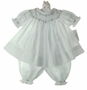 "<img src=""https://p11.secure.hostingprod.com/@grammies-attic.com/ssl/images/blue-sold-1.gif""> NEW Royal Child White Bishop Smocked Pantaloon Set with Embroidered Rosebuds and Pink Ribbons"