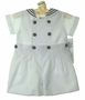 NEW Royal Kidz White Button On Sailor Shorts Set with Navy Trim