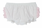 NEW Ruffle Butts White Cotton Dotted Swiss Diaper Cover with Pink Ruffles