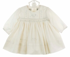 NEW Sarah Louise Ivory Smocked Dress with Blue and Ivory Embroidered Flowers, Fagoting and Pintucks, and Tiny Seed Pearls