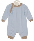 NEW Sarah Louise Blue Cotton Knit Romper with Brown Trim