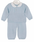NEW Sarah Louise Blue Knit Pants Set with Embroidered White Pique Collar