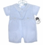NEW Sarah Louise Blue Linen Pintucked Romper with Matching Hat
