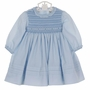 NEW Sarah Louise Blue Smocked Dress with Ruffled Neckline