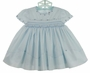 NEW Sarah Louise Blue Smocked Dress with Scalloped Embroidered Sleeves and Neckline
