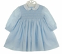 NEW Sarah Louise Blue Smocked Dress with White Collar and Blue Embroidered Rosebuds with Short Sleeves or Long Sleeves