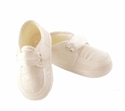 NEW Sarah Louise Boys Ivory Silk Christening Shoes with Ribbon Ties
