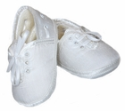 NEW Sarah Louise Boys White Satin Christening Shoes with Eyelet Laced Ties