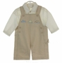 NEW Sarah Louise Brown Checked Shortall with Car and Truck Embroidery and Matching Ivory Shirt