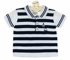 NEW Sarah Louise Dark Navy and White Striped Cotton Knit Polo Sweater with Boat Embroidery