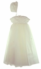 NEW Sarah Louise Elaborately Embroidered Ivory Christening Gown with Organdy Flowers