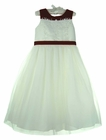 NEW Sarah Louise Exquisitely Beaded Ivory Satin Dress Dress with Red Trim