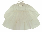 NEW Sarah Louise Ivory Batiste Smocked Dress and Matching Bonnet with Exquisite Embroidery and Beading