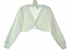 "<img src=""https://p11.secure.hostingprod.com/@grammies-attic.com/ssl/images/blue-sold-1.gif""> NEW Sarah Louise Ivory Bolero Style Sweater with Pink and White Embroidered Trim"