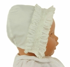 NEW Sarah Louise Ivory Bonnet with Smocked Face Ruffle