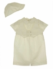 NEW Sarah Louise Ivory Linen Vested Romper and Hat Set