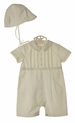 NEW Sarah Louise Ivory Pintucked Romper and Hat Set with Tan Featherstitching