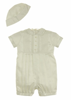 NEW Sarah Louise Ivory Romper with Pintucks and Openwork and Matching Sailor Style Hat