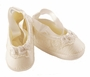 NEW Sarah Louise Ivory Silk Ballet Style Christening Shoes with Lace and Ribbon Roses