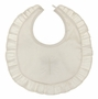 NEW Sarah Louise Ivory Silk Bib with Cross Embroidery and Ruffled Edge