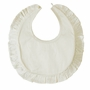 NEW Sarah Louise Ivory Silk Bib with Ruffled Edge
