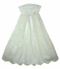 NEW Sarah Louise Ivory Silk Christening Gown with Exquisitely Embroidered Overlay
