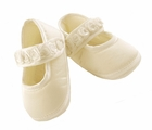 NEW Sarah Louise Ivory Silk Mary Jane Style Christening Shoes with Ribbon Roses