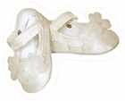 NEW Sarah Louise Ivory Silk Mary Jane Style Shoes with Organdy Flowers and Seed Pearls