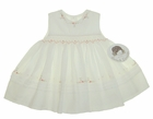 NEW Sarah Louise Ivory Sleeveless Smocked Dress with Peach Embroidered Flowers