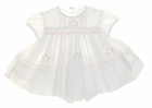 "<img src=""https://p11.secure.hostingprod.com/@grammies-attic.com/ssl/images/blue-sold-1.gif"">  NEW Sarah Louise Ivory Smocked Baby Dress with Pintucks and Peach Rosebuds"