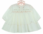 NEW Sarah Louise Ivory Smocked Dress with Peach Embroidered Rosebuds