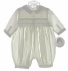 """<img src=""""https://p11.secure.hostingprod.com/@grammies-attic.com/ssl/images/blue-sold-1.gif""""> NEW Sarah Louise Ivory Smocked Romper with Blue Embroidery"""