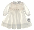 "<img src=""https://p11.secure.hostingprod.com/@grammies-attic.com/ssl/images/blue-sold-1.gif""> NEW Sarah Louise Ivory Smocked Toddler Dress with Peach Rosebuds and Beading"