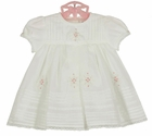 NEW Sarah Louise Pale Ivory Voile Dress with Pintucks, Lace, and Pink Rosebuds