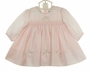 NEW Sarah Louise Pale Pink Dress with Bows and Rosebud Embroidery